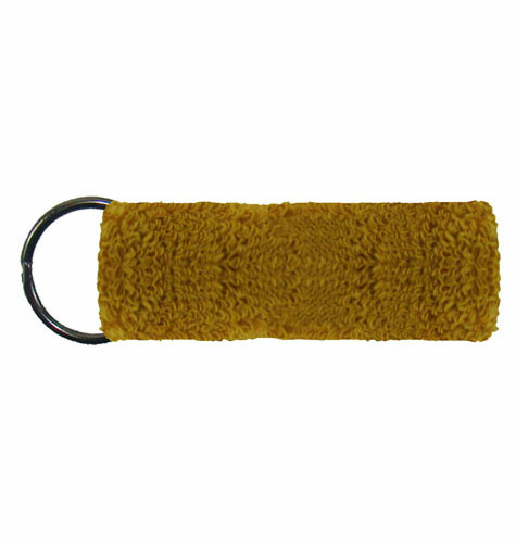 Old Gold Mini Wristband Keyrings  as seen from the front