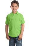 Lime Port Authority Youth Silk Touch Polo as seen from the front