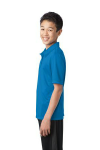 Brilliant Blue Port Authority Youth Silk Touch Performance Polo as seen from the sleeveleft