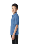 Carolina Blue Port Authority Youth Silk Touch Performance Polo as seen from the sleeveleft
