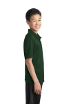 Dark Green Port Authority Youth Silk Touch Performance Polo as seen from the sleeveright