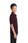 Maroon Port Authority Youth Silk Touch Performance Polo as seen from the sleeveright