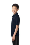 Navy Port Authority Youth Silk Touch Performance Polo as seen from the sleeveleft