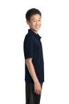 Navy Port Authority Youth Silk Touch Performance Polo as seen from the sleeveright