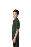 Steel Grey Port Authority Youth Silk Touch Performance Polo as seen from the sleeveleft
