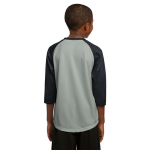 Silver Black Sport-Tek Youth PosiCharge Baseball Jersey as seen from the back