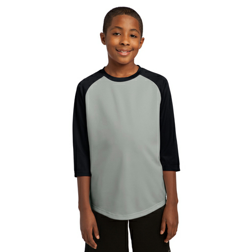 Silver Black Sport-Tek Youth PosiCharge Baseball Jersey as seen from the front