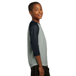 Silver Black Sport-Tek Youth PosiCharge Baseball Jersey as seen from the sleeveright