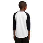 White Black Sport-Tek Youth PosiCharge Baseball Jersey as seen from the back