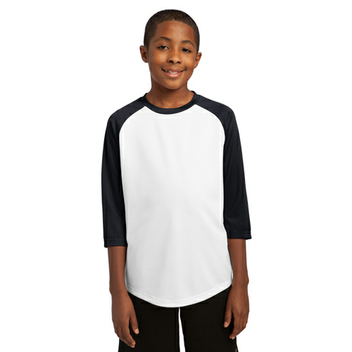 White Black Sport-Tek Youth PosiCharge Baseball Jersey as seen from the front