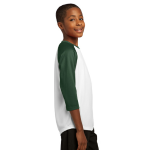 White For Grn Sport-Tek Youth PosiCharge Baseball Jersey as seen from the sleeveright