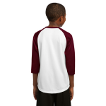White Maroon Sport-Tek Youth PosiCharge Baseball Jersey as seen from the back