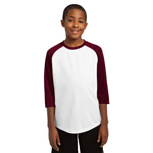 White Maroon Sport-Tek Youth PosiCharge Baseball Jersey as seen from the front