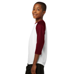 White Maroon Sport-Tek Youth PosiCharge Baseball Jersey as seen from the sleeveleft