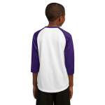 White Purple Sport-Tek Youth PosiCharge Baseball Jersey as seen from the back
