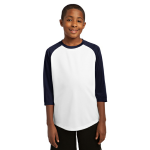 White Tr Navy Sport-Tek Youth PosiCharge Baseball Jersey as seen from the front