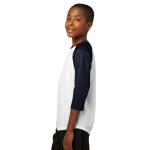 White Tr Navy Sport-Tek Youth PosiCharge Baseball Jersey as seen from the sleeveleft