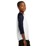 White Tr Navy Sport-Tek Youth PosiCharge Baseball Jersey as seen from the sleeveright