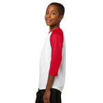White Tr Red Sport-Tek Youth PosiCharge Baseball Jersey as seen from the sleeveleft