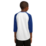 White Tr Royal Sport-Tek Youth PosiCharge Baseball Jersey as seen from the back