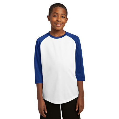 White Tr Royal Sport-Tek Youth PosiCharge Baseball Jersey as seen from the front