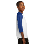 White Tr Royal Sport-Tek Youth PosiCharge Baseball Jersey as seen from the sleeveright