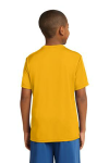 Gold Sport-Tek Youth Competitor Tee as seen from the back