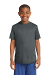 Iron Grey Sport-Tek Youth Competitor Tee as seen from the front