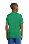 Kelly Green Sport-Tek Youth Competitor Tee as seen from the back