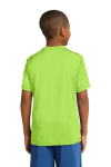 Lime Shock Sport-Tek Youth Competitor Tee as seen from the back