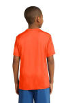 Neon Orange Sport-Tek Youth Competitor Tee as seen from the back