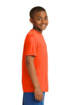 Neon Orange Sport-Tek Youth Competitor Tee as seen from the sleeveright