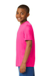 Neon Pink Sport-Tek Youth Competitor Tee as seen from the sleeveleft