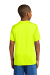 Neon Yellow Sport-Tek Youth Competitor Tee as seen from the back