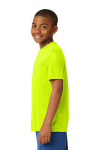 Neon Yellow Sport-Tek Youth Competitor Tee as seen from the sleeveleft