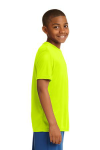 Neon Yellow Sport-Tek Youth Competitor Tee as seen from the sleeveright
