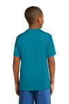 Tropic Blue Sport-Tek Youth Competitor Tee as seen from the back