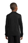 Black Sport-Tek Youth Long Sleeve Competitor Tee as seen from the back