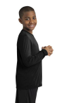 Black Sport-Tek Youth Long Sleeve Competitor Tee as seen from the sleeveright