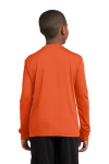 Deep Orange Sport-Tek Youth Long Sleeve Competitor Tee as seen from the back