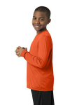 Deep Orange Sport-Tek Youth Long Sleeve Competitor Tee as seen from the sleeveleft
