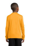 Gold Sport-Tek Youth Long Sleeve Competitor Tee as seen from the back