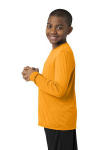 Gold Sport-Tek Youth Long Sleeve Competitor Tee as seen from the sleeveleft