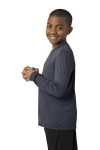 Iron Grey Sport-Tek Youth Long Sleeve Competitor Tee as seen from the sleeveleft