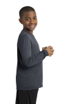 Iron Grey Sport-Tek Youth Long Sleeve Competitor Tee as seen from the sleeveright