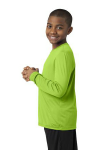Lime Shock Sport-Tek Youth Long Sleeve Competitor Tee as seen from the sleeveleft