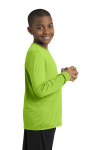 Lime Shock Sport-Tek Youth Long Sleeve Competitor Tee as seen from the sleeveright