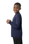 True Navy Sport-Tek Youth Long Sleeve Competitor Tee as seen from the sleeveleft