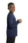 True Navy Sport-Tek Youth Long Sleeve Competitor Tee as seen from the sleeveright