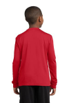 True Red Sport-Tek Youth Long Sleeve Competitor Tee as seen from the back